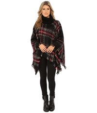 Steve Madden Ombre Plaid Boucle Turtleneck Poncho Multi Women's Sweater