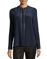 Vince Sheer Panel Long Sleeve Blouse Coastal Blue