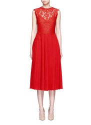 Valentino Floral Guipure Lace Bodice Pleated Dress Red