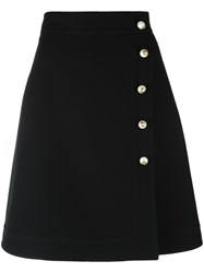 Gucci High Rise Pearl Button Skirt Black