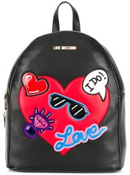 Love Moschino Heart Embellished Backpack Black