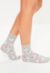 Missguided Grey Unicorn Ankle Socks