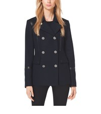 Leather Trimmed Wool Blend Peacoat