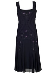 Chesca Ruched Trim Bead Mesh Dress Navy