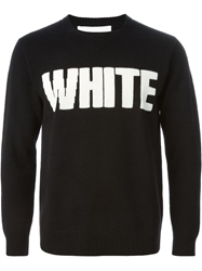 White Mountaineering Intarsia Knit Sweater Black