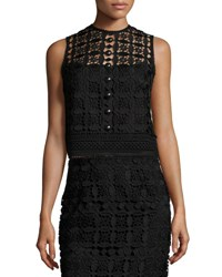 Nanette Lepore Sleeveless Boxy Lace Top Black Black Pattern