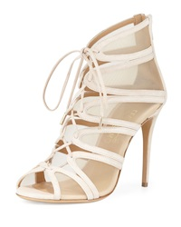 Salvatore Ferragamo Suede And Mesh Lace Front Bootie New Bisque