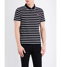 Mcq By Alexander Mcqueen Striped Cotton Polo Shirt Striped Black White