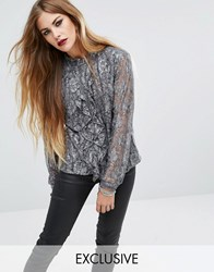 Religion Ruffle Shirt In Antique Lace Silver Grey