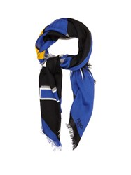 Fendi Faces Wool And Silk Blend Scarf Blue