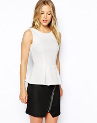 Closet Textured Peplum Top Cream