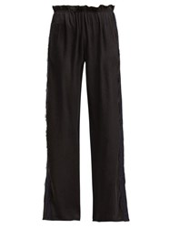 Icons Lace Trimmed Silk Trousers Black