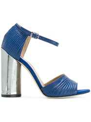 Marc Ellis Metallic Block Heel Sandals Leather Blue