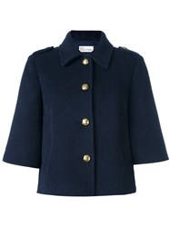 Red Valentino Cropped Sleeves Jacket Blue