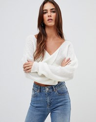 Missguided Fluffy Twist Front Cropped Jumper Cream
