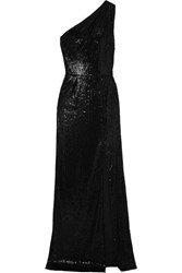 Haney Zane One Shoulder Sequined Satin Gown Black