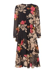 Biba Printed Romantic Ruffle Dress Multi Coloured Multi Coloured