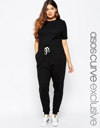 Asos Curve Casual Jumpsuit With Drawstring Black