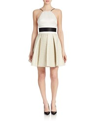 Abs By Allen Schwartz Pleated Jacquard Halter Dress Ivory Gold