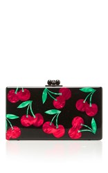 Edie Parker M'o Exclusive Obsidian Cherries Clutch Black