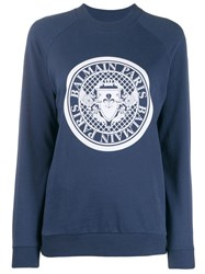 Balmain Medallion Logo Sweatshirt Blue