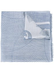Chanel Vintage Woven Scarf Blue