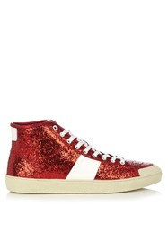 Saint Laurent Glitter High Top Leather Trainers Red Multi