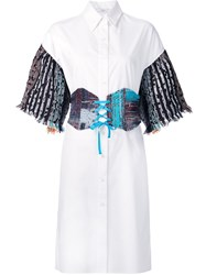 Tome Tweed Sleeves Shirt Dress Women Cotton 4 White