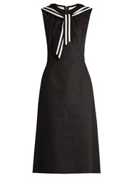 Dolce And Gabbana Point Collar Polka Dot Print Dress Black White