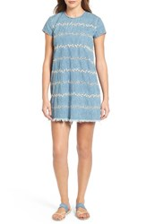 Lucky Brand Women's Embroidered Chambray Shift Dress