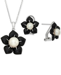 Macy's Cultured Fresh Water Pearl 3 5 Mm And Onyx 7 5 8 Ct. T.W. Flower Pendant And Earring Set In Sterling Silver