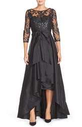 Petite Women's Adrianna Papell Sequin Illusion Taffeta High Low Ballgown