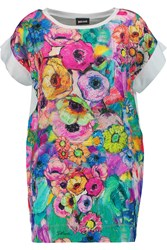 Just Cavalli Floral Print Satin And Jersey T Shirt Purple