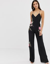Millie Mackintosh Rose Embroidered Strappy Jumpsuit Black
