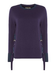 Biba Lace Up Eyelet Jumper Blue