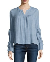 Marled By Reunited Clothing Cold Shoulder Peasant Blouse Light Blue