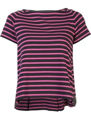 Sacai Short Sleeve Striped Flared T Shirt Grey