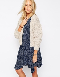 Abercrombie And Fitch Fluffy Knit Bomber Cardigan Oatmeal