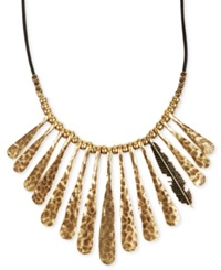 Lucky Brand Necklace Gold Tone Fan Feather Leather Cord Necklace