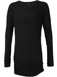 Lost And Found Asymmetric Hem V Neck Sweater Black