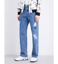 Kenzo Patch Detailed Easy Fit Straight Jeans Navy Blue