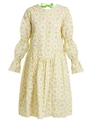 Shrimps Peggy Floral Embroidered Cotton Blend Dress Green Multi