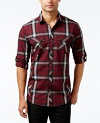 Inc International Concepts Men's Thymine Plaid Long Sleeve Shirt Only At Macy's Grey Skies