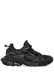 Balenciaga 30Mm Open Track Faux Leather Sneakers Black