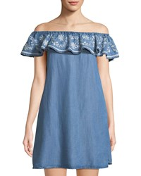 Chelsea And Theodore Off The Shoulder Embroidered Chambray Dress Blue