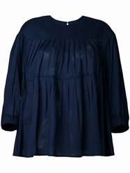 Muveil Pleated Blouse Blue