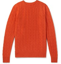 Anderson And Sheppard Cable Knit Cashmere Sweater Orange