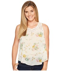Roper 1131 Cream Floral Chiffon Tank Top White Women's Sleeveless