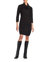 Calvin Klein Cable Knit Sweater Dress Black