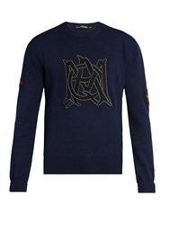 Alexander Mcqueen Amq Applique Cotton Knit Sweater Dark Blue